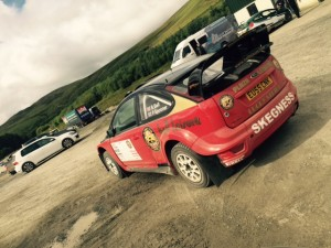 Bell's Focus WRC after a short but successful test at Sweet Lamb