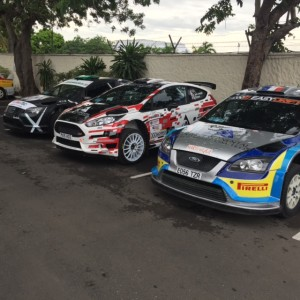 The 3 Ford's at Scrutineering. (Left - Panton, Centre - Jean Joseph) Right - Powell)